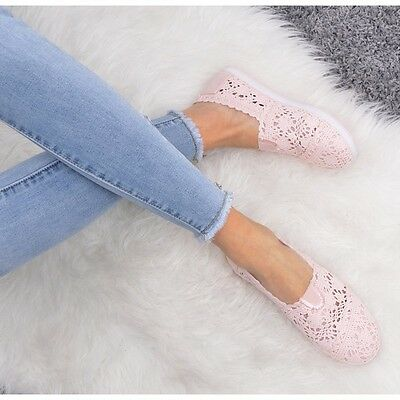 New Womens Ladies Lace  Crochet Shoes Pumps Slip On  Summer  Size Pink