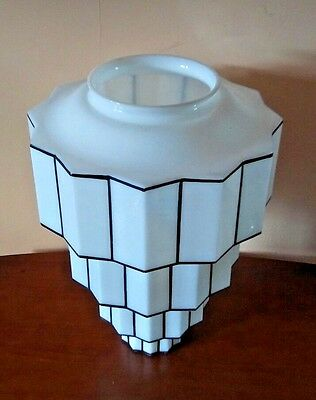 HUGE antq ART deco GEOMETRIC starburst SKYSCRAPER ceiling LIGHT chandelier shade