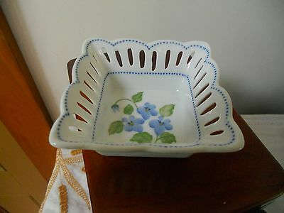 ''andrea By Sadek'' Small Nut Bowl, Blue Forget Me Nots Flowers
