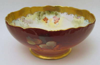 Excellent Large T&V Limoges Hand Painted Currants Bowl Pickard Artist LeRoy