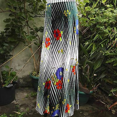 Vintage 1980's Wrap Skirt Maxi White blue red green Floral by New Styles