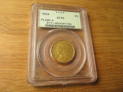 1834 $5 Gold Coin PCGS XF-45 Plain 4 Classic Half Eagle Five Dollar GREEN HOLDER