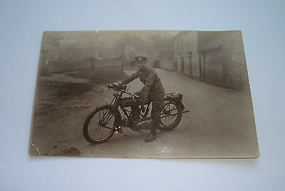 Vintage Triumph Motorcycle Postcard Ferry Lane Norwich 1915 Ww1 Soldier Bm5656