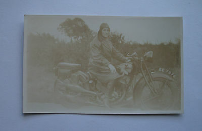 VINTAGE MATCHLESS MODEL X  MOTORCYCLE POSTCARD 990cc LADY RIDER 1930 GRIMSBY