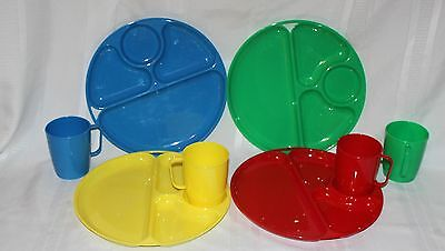 Vintage Lustro Ware Plastic Set of 4 Cups & Divided Dinner Plates - Made in USA