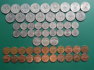USA Quarters 25¢, Dimes 10¢, Nickels 5¢ & Cents 1¢ Coins - Total USD7.51