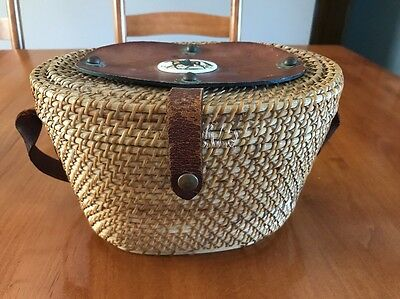 Vintage Nantucket Style Basket With Leather Handle/trim And Brass Buttons/hinge