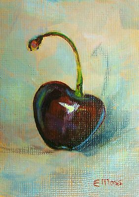 TWO ORIGINAL MINIATURE ACEO PAINTINGS * Cherries * signed by E Moss