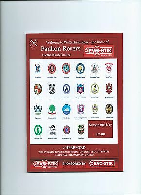 16/17 Paulton Rovers v Hereford mint condition