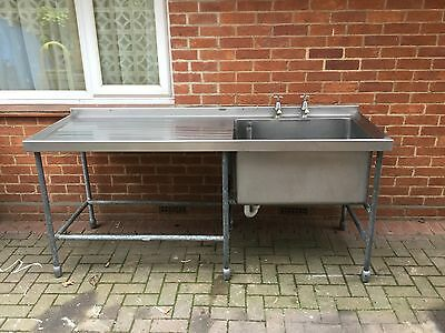 Extra Long Commercial Stainless Steel Sink On Metal Frame Lower Shelf & Taps