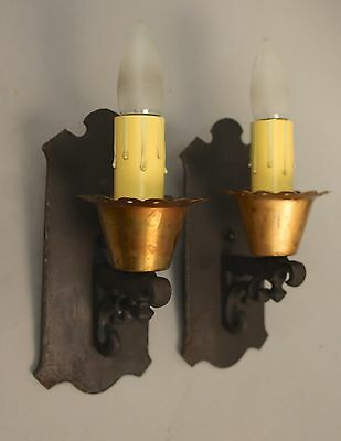 Pair 1920s Antique Sconce Light Fits Cottage French Spanish Revival  Tudo(10417)