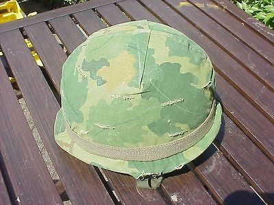 Original Early Vietnam Us M1 Helmet With Liner And Camo Cover