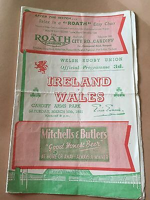 1951 Wales V Ireland Rugby International