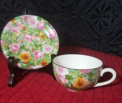 CROWN DUCAL PINK CHINTZ TEA CUP & SAUCERS BLACK RIM . 1925 Mark