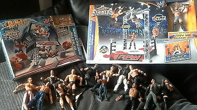wwe wrestling bundle, rings and figures, some new