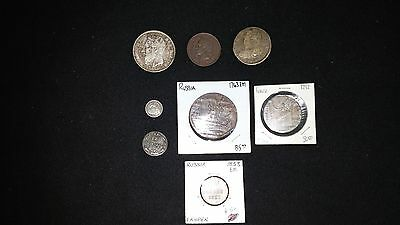 Old Coins Lot....(8 Coins)...7 old European coins & 1 U.S Half dime