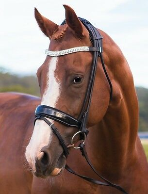 Rolled Patent Leather Snaffle Bridle - anatomical/padded poll piece