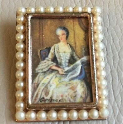Antique Picture Portrait Grissey Faux Pearl Brooch Trombone Clasp Mothers Day