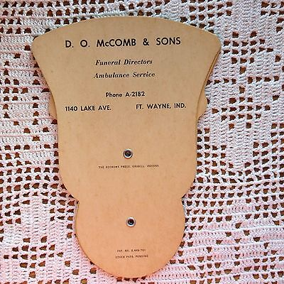 Vintage Advertising Fan D O Mccomb & Sons Ft Wayne In Funeral Home