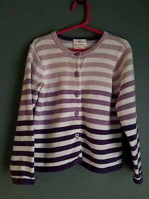 Girls Hanna Andersson size 110 cardigan sweater purple ombre stripes EUC