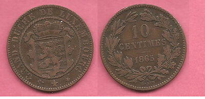 Luxembourg 1865 10 Centimes coin.