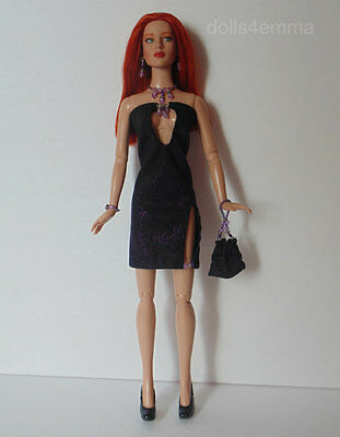 "TYLER DOLL CLOTHES hand-beaded DRESS PURSE & JEWELRY for 16"" Tonner FASHION d4e"