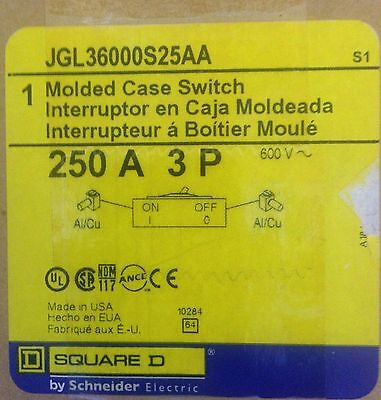 Square D PowerPact Molded Case Switch JGL36000S25AA 250A 600V 3 Pole New In Box