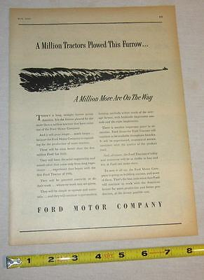 1947 Print Ad - Ford Farming - A Million Tractors Plowed This Furrow