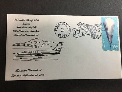 PLAINPEX 1983 Cover - Robertson Airfield Plainville  Cachet - Balloon Stamp