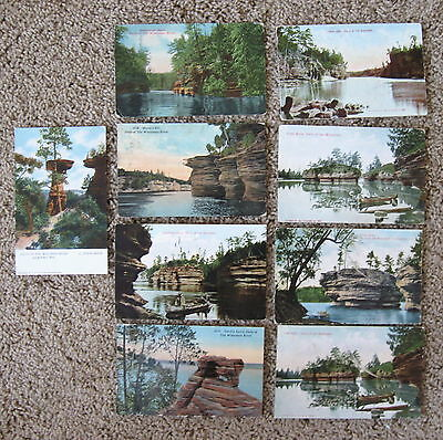 Dells of the Wisconsin lot of 9 different scenes  divided Hawks Bill Lone Rock