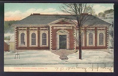 Fletcher Memorial Library - Ludlow Vermont  1906  undivided back