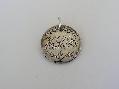 Engraved Love Token H L B & Tree on an 1892 Silver Barber Dime Coin & Jump Ring