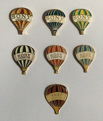 Lot 7 Pin's SONY 1989 at Back Tapes  Ballons Balloons Air Cassettes Cartridges