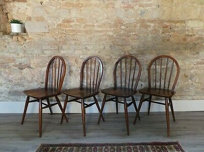 4 Vintage mid century 1950s 60s ERCOL Windsor stick back dining chairs DELIVERY
