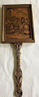 Antique French Hand Mirror Brass Fancy Scrolled Handle wood frame