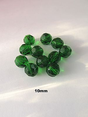 50pcs 10mm dark green faceted glass beads jewellery making craft UK