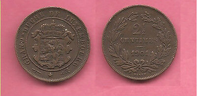 Luxembourg 1901 2 1/2 Centimes coin.
