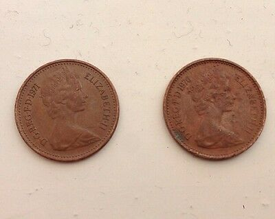 British Monarch Collectible 1971 & 1976 Decimal Coinage 1/2 New Penny Bonze Coin