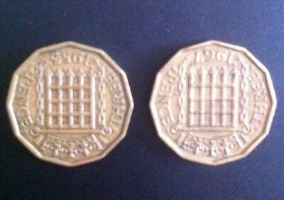 2 X British Monarch Collectible 1953, 1967 Elizabeth II Threepence Brass Coin