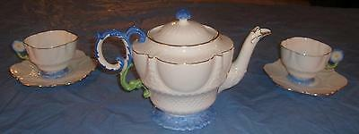 Aynsley China Blue & White Floral Handle 1920s Pair Cup Saucers Matching Teapot