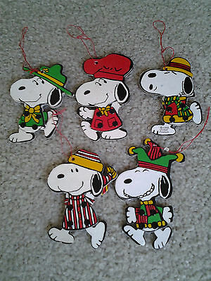 SNOOPY JOINTED 70s era DETERMINED HANGING ORNAMENTS set of 5 SCOUT JESTER CHEF