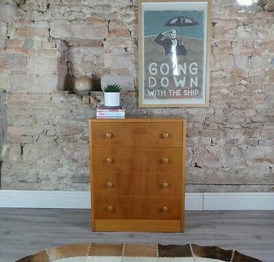 Vintage mid century 1950s 60s GIBBS blonde oak chest of drawers utility DELIVERY