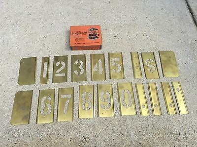 """Vintage Set of Reese's 2 1/2"""" Brass Gothic Stencils Lockedge Numbers in Box"""
