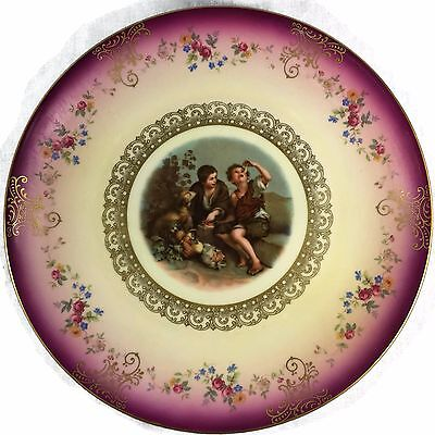 Vtg Mitterteich Bavaria Decorative Plate Gold Embellished 2 Boys Dog Germany