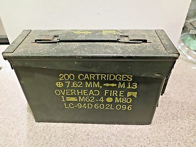 7.62 Nato Metal Ammo Storage Box 200 Cartridges M13 OLIVE DRAB MILITARY GREEN