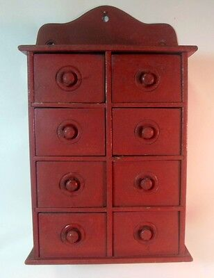 Antique Painted SPICE CABINET Chest 8 Drawers Folk Art Primitive Apothecary