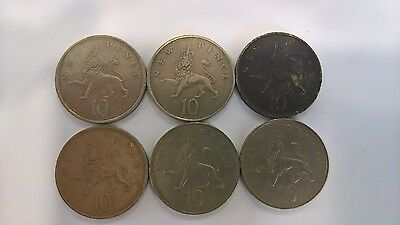 Six Large Old 10p Coins
