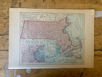 Antique Map of Massachusetts 1898 by Rand, McNally & Co.