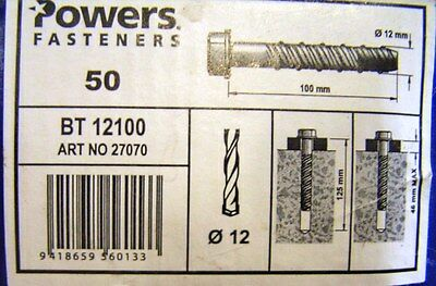 M12 x 100-mm Concrete MASONRY ANCHOR BOLT 50-OFF NEW