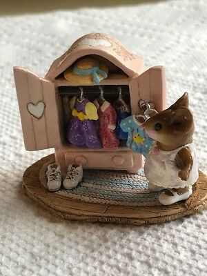 Wee Forest Folk Mouse Looking in Clothes Wardrobe